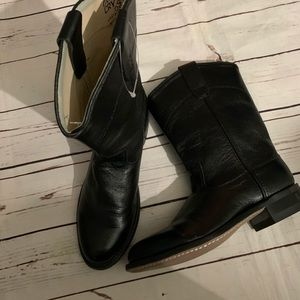 Old West Cry black leather boots women 6.5 youth 5